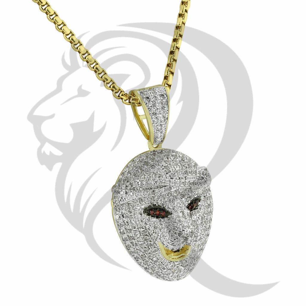 IcedOut 3D Animal Lion Face Red Eyes Pendant