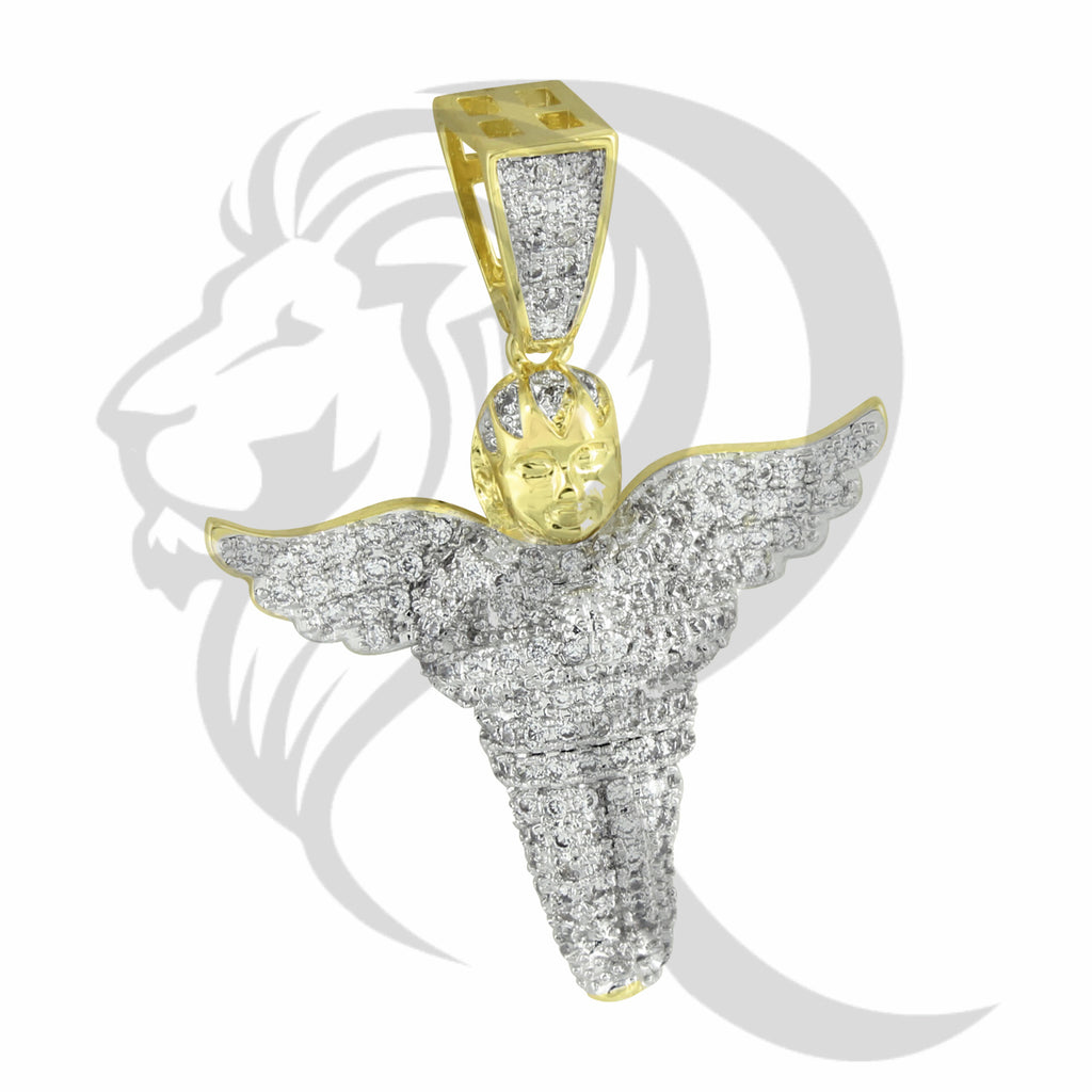 IcedOut Wings Praying Angel Yellow Tone Pendant