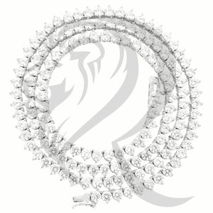 "4MM 18""-30"" White Tone Solitaire 3 Prong Simulated Diamonds Tennis Chain"
