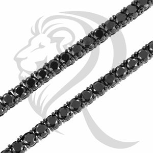 "4MM 18""-24"" Black Tone Black Simulated Diamonds 4 Prong Tennis Link Chain"