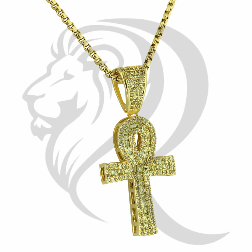3 Row IcedOut Solitaire Canary Ankh Cross Pendant