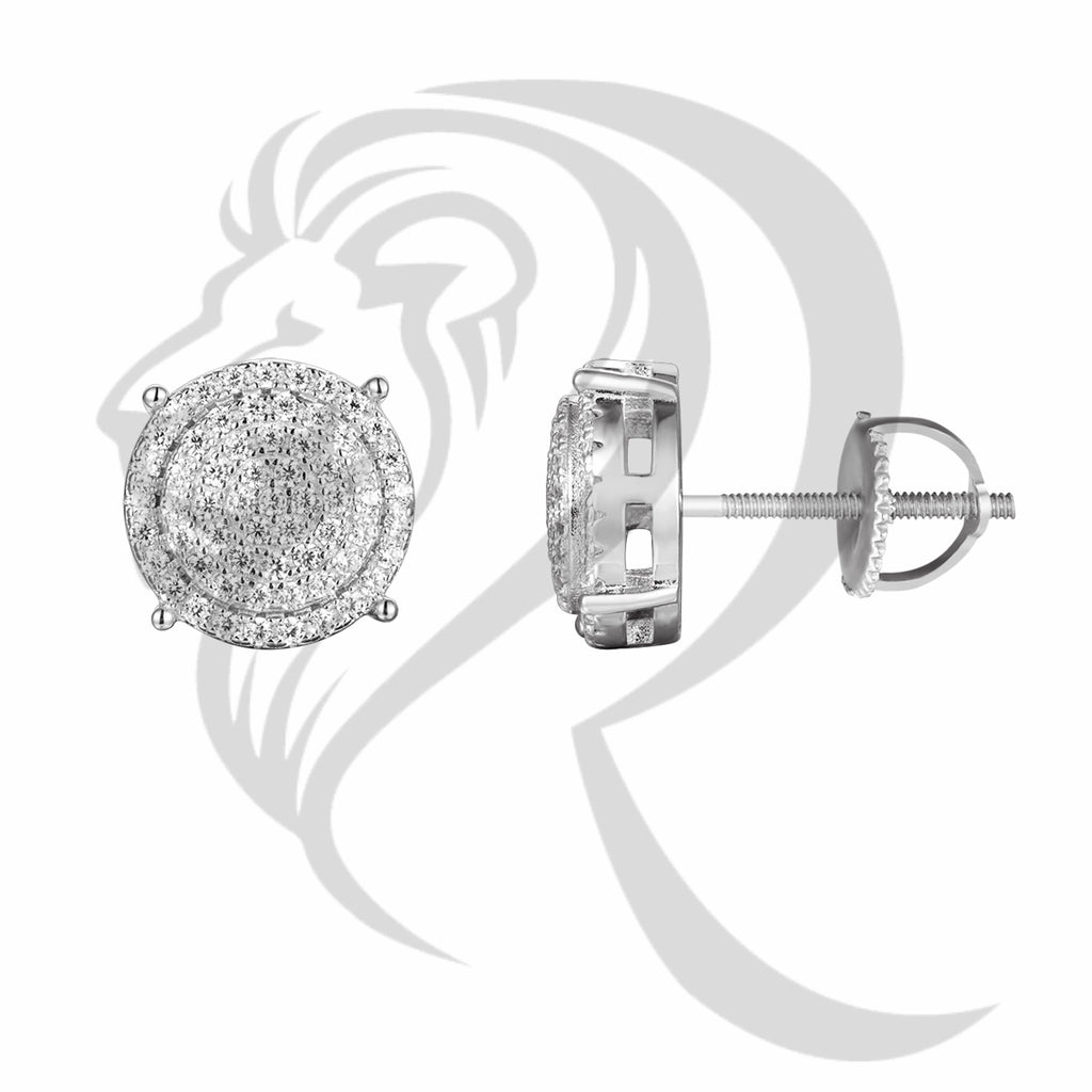 Sterling Silver IcedOut 10MM Round 3D White Earrings