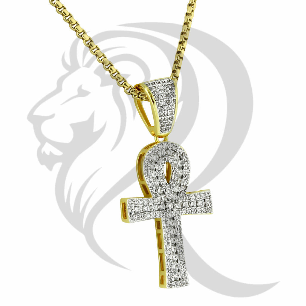 3 Row IcedOut Solitaire Ankh Cross Religious Pendant