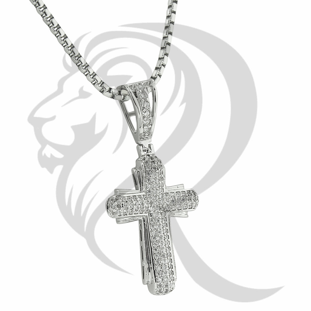 White Gold Finish IcedOut Religious Cross Pendant