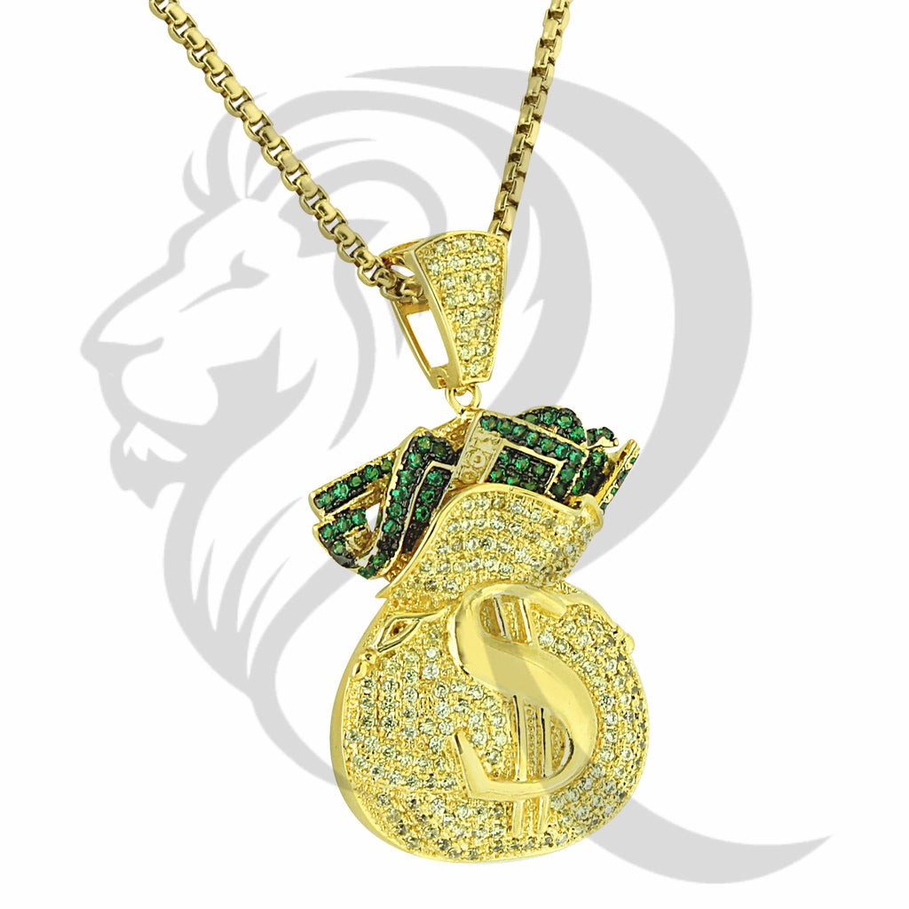 Yellow Canary Green Stones Dollar Sign Money Bag Pendant