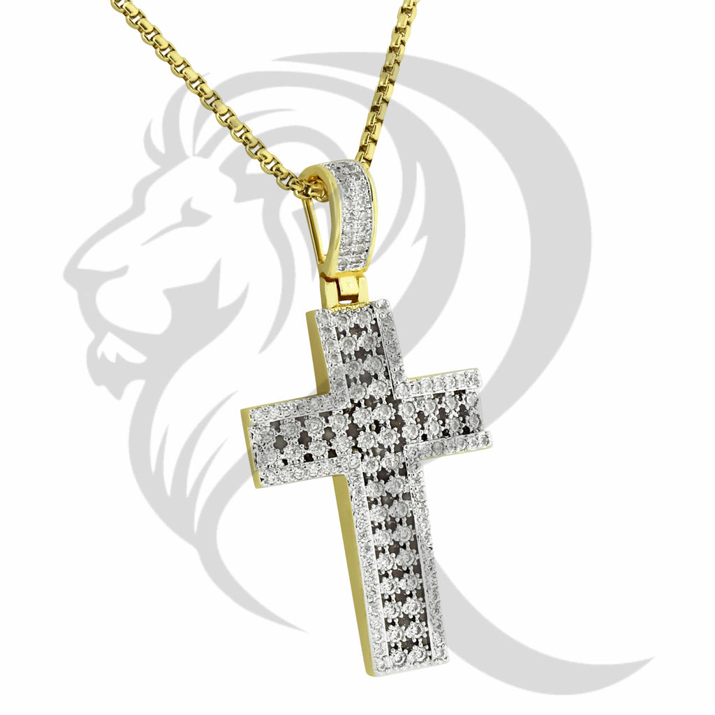 Prong Set Cutout IcedOut Religious Cross Pendant