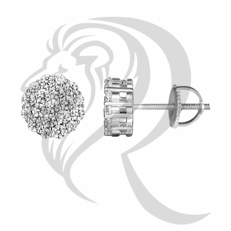 White Gold Finish 8MM IcedOut Solitaire Round Earrings