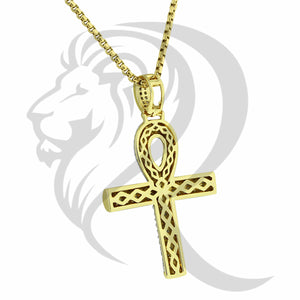 Yellow Gold Tone IcedOut Religious Cross Pendant