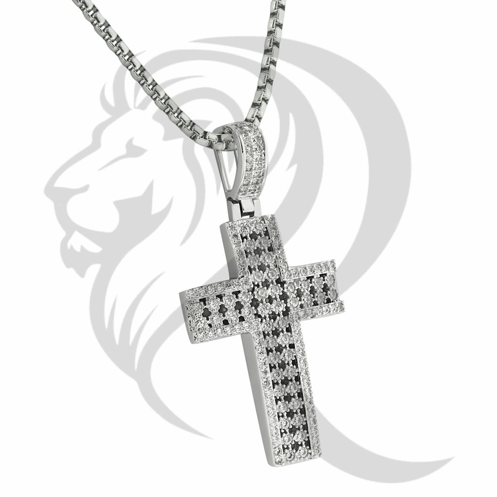 White Gold Finish Prong Set IcedOut Cross Pendant