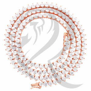 "3MM 18""-24"" Rose Tone 3 Prong Clear Simulated Diamonds 1 Row Tennis Chain"