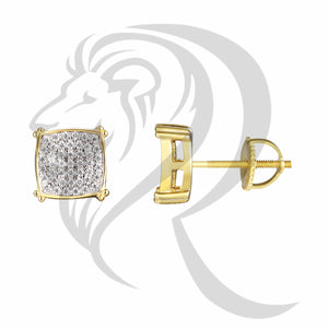 9MM Curved Square IcedOut Screw Back Earrings