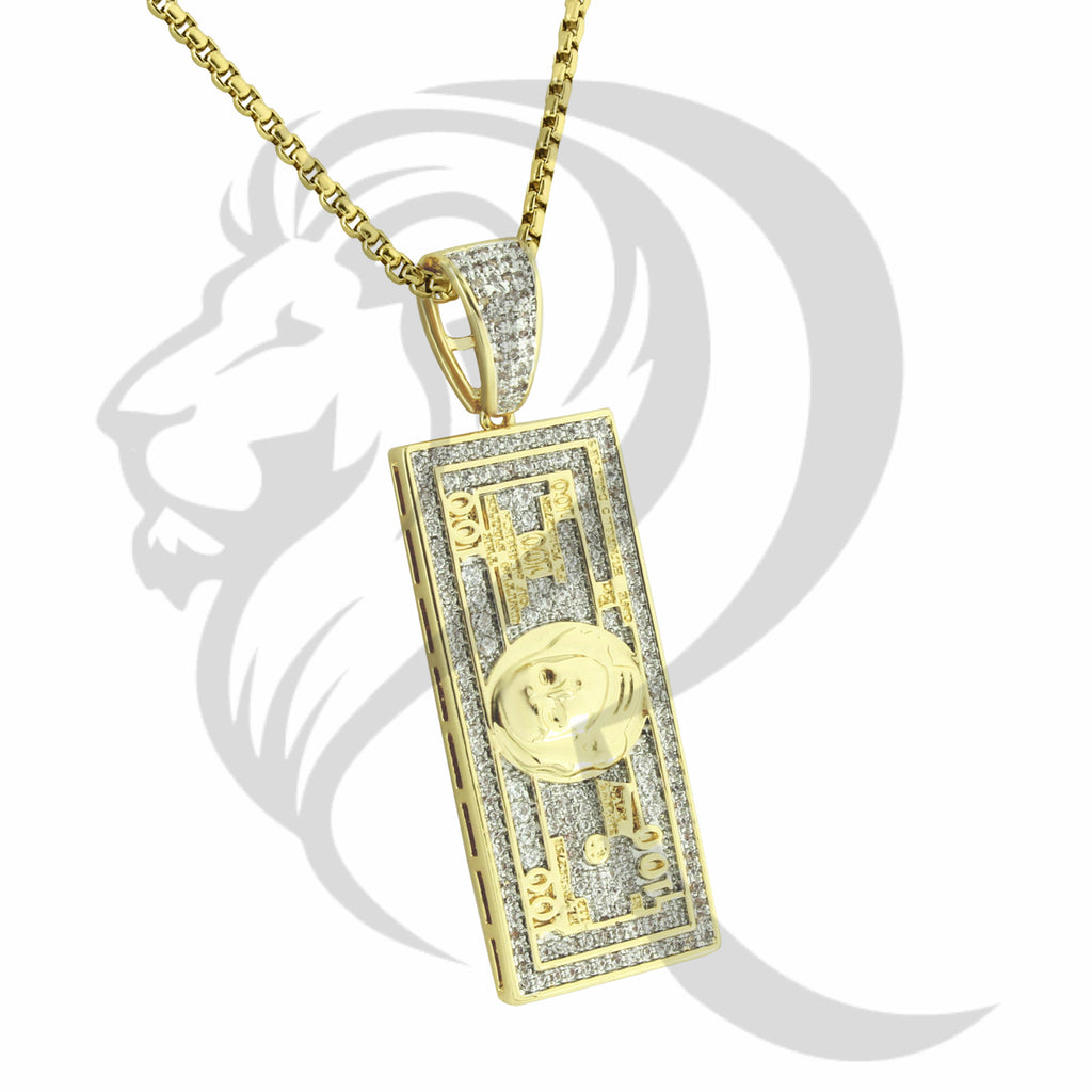 Fashion Yellow IcedOut 100 Dollar Bill Note Pendant