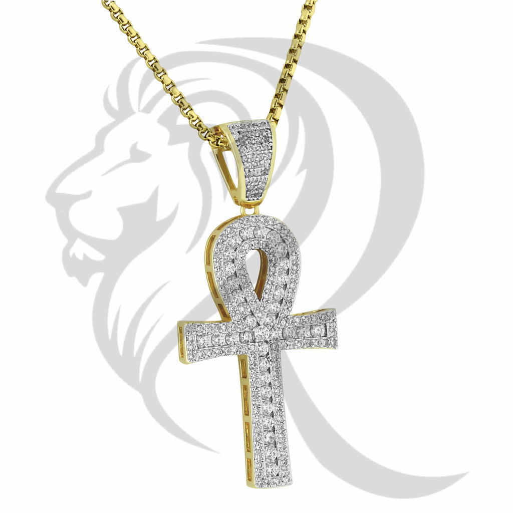 3 Row Solitaire IcedOut Religious Ankh Cross Pendant