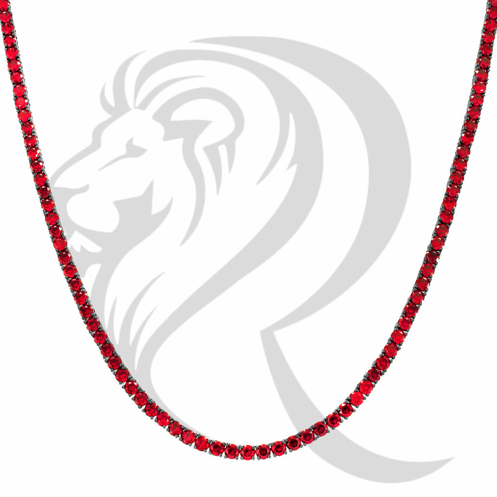 "4MM 18""-24"" Red Simulated Diamonds Solitaire 1 Row Tennis Link Chain"