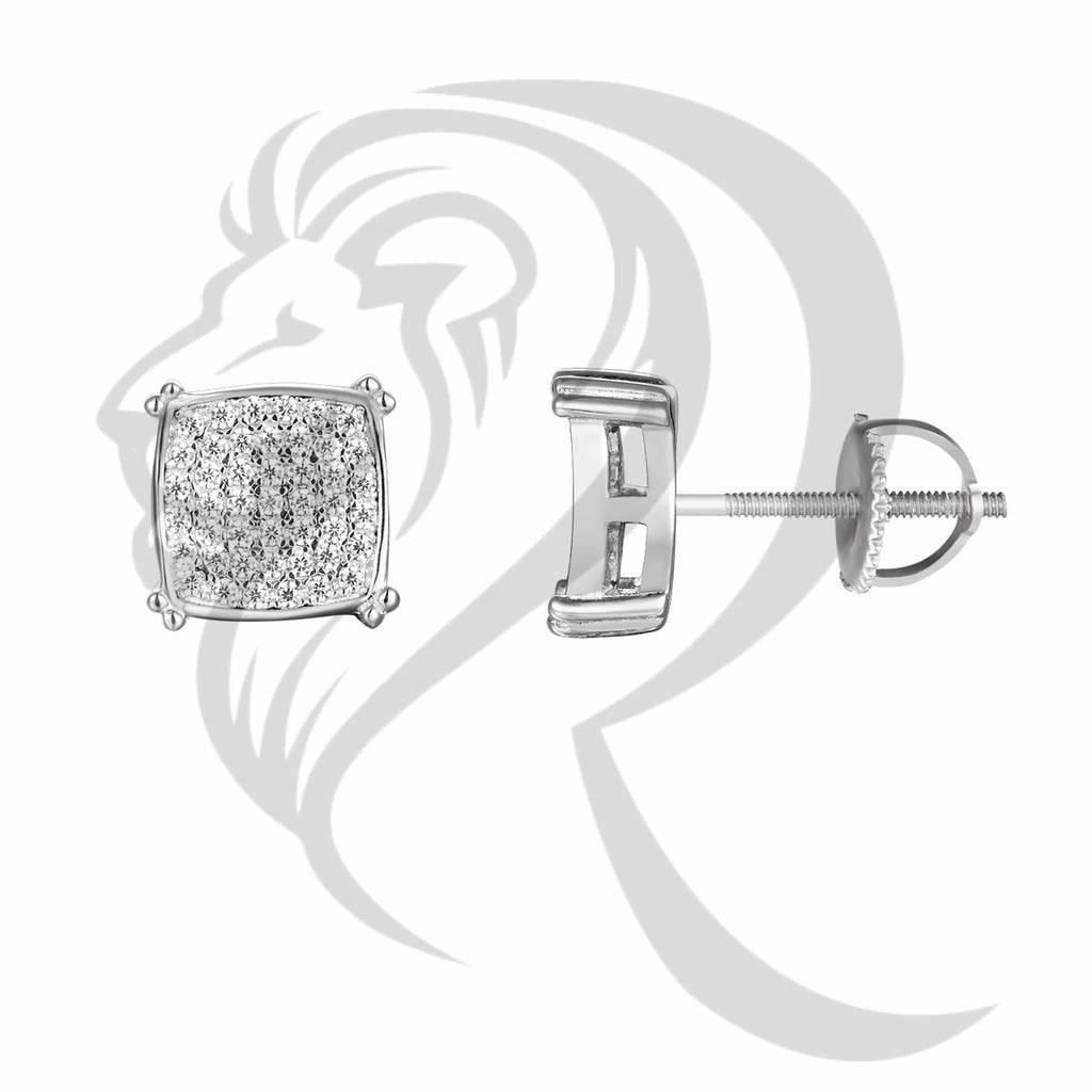 White Gold Finish 9MM Icedout Curved Square Earrings