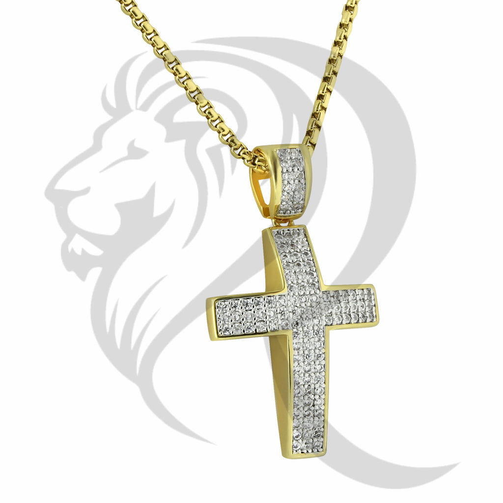 Yellow Gold Tone IcedOut Puffed Cross Pendant