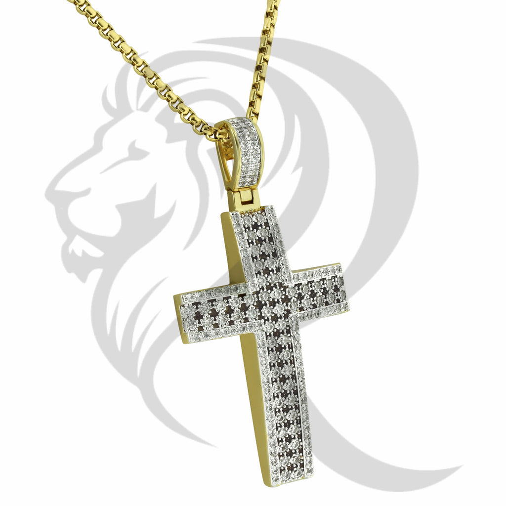 Prong Set Yellow Cutout Style Stone Cross Pendant