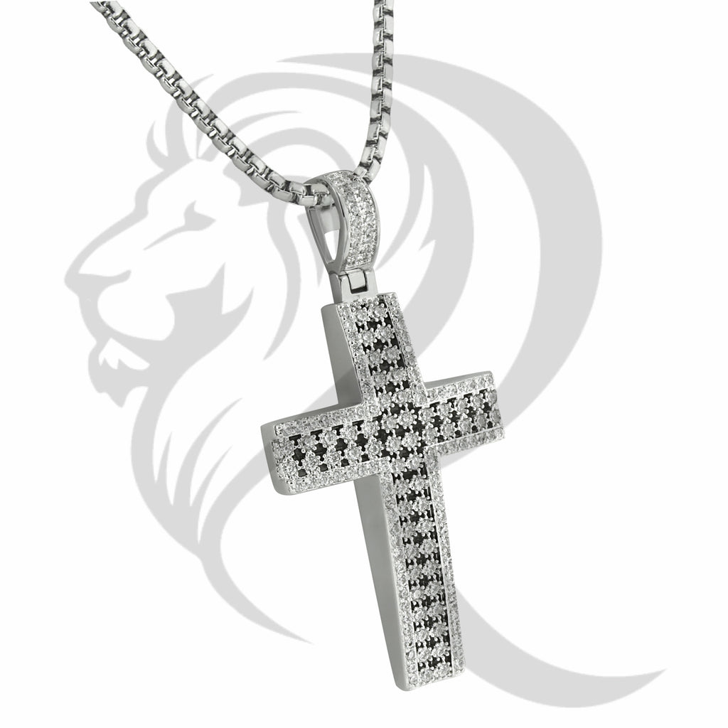 White Tone Prong Set IcedOut Religious Cross Pendant