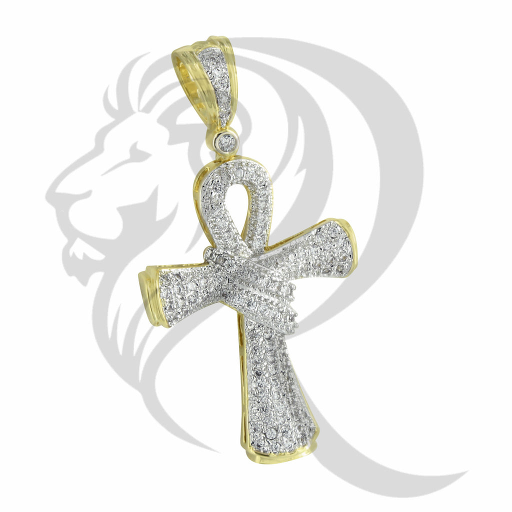 Yellow IcedOut Egyptian Ribbon Wrapped Ankh Cross Pendant