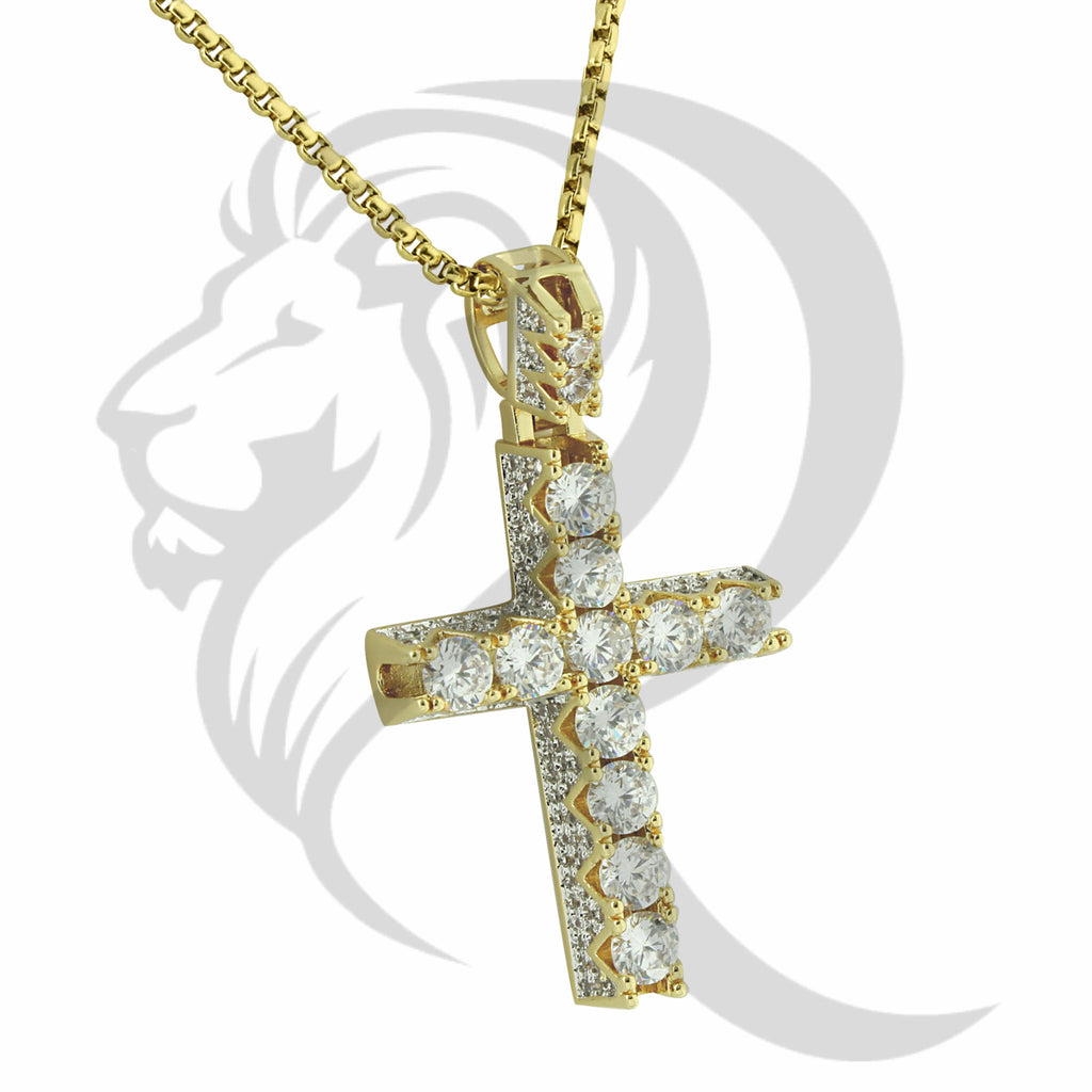 Big Solitaire IcedOut Solid Back Pyramid Cross Pendant