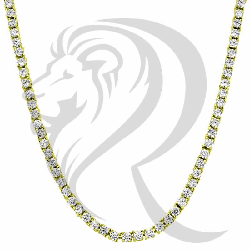 "3MM 18""-24"" Solitaire Stones Yellow Tone 1 Row Tennis Chain"