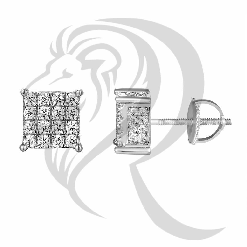 8MM 4 Row Square IcedOut Sides Screw Back Earrings