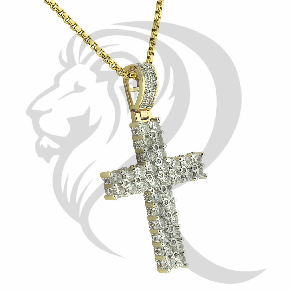 Yellow Tone 2 Row Solitaire IcedOut Cross Pendant