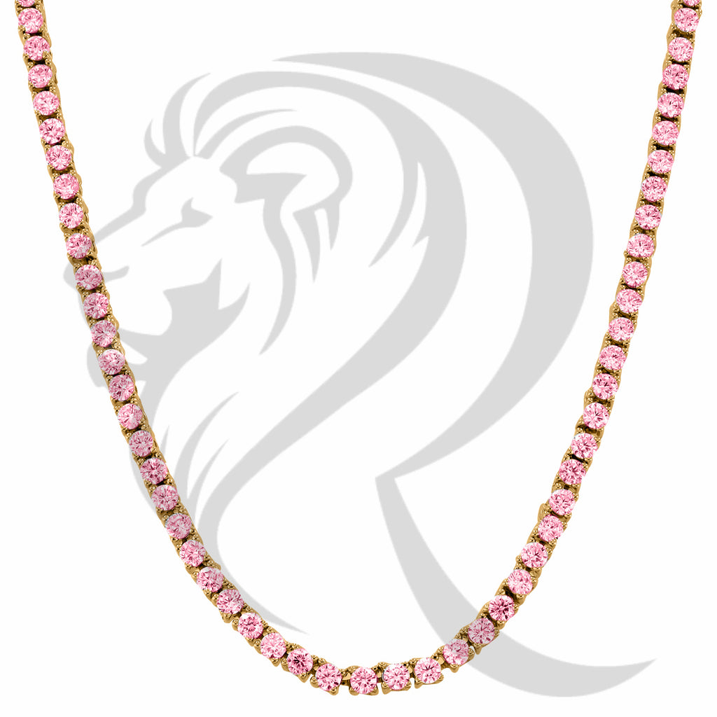 "4MM 18""-24"" Pink Simulated Diamonds Rose Gold Finish 1 Row Tennis Chain"
