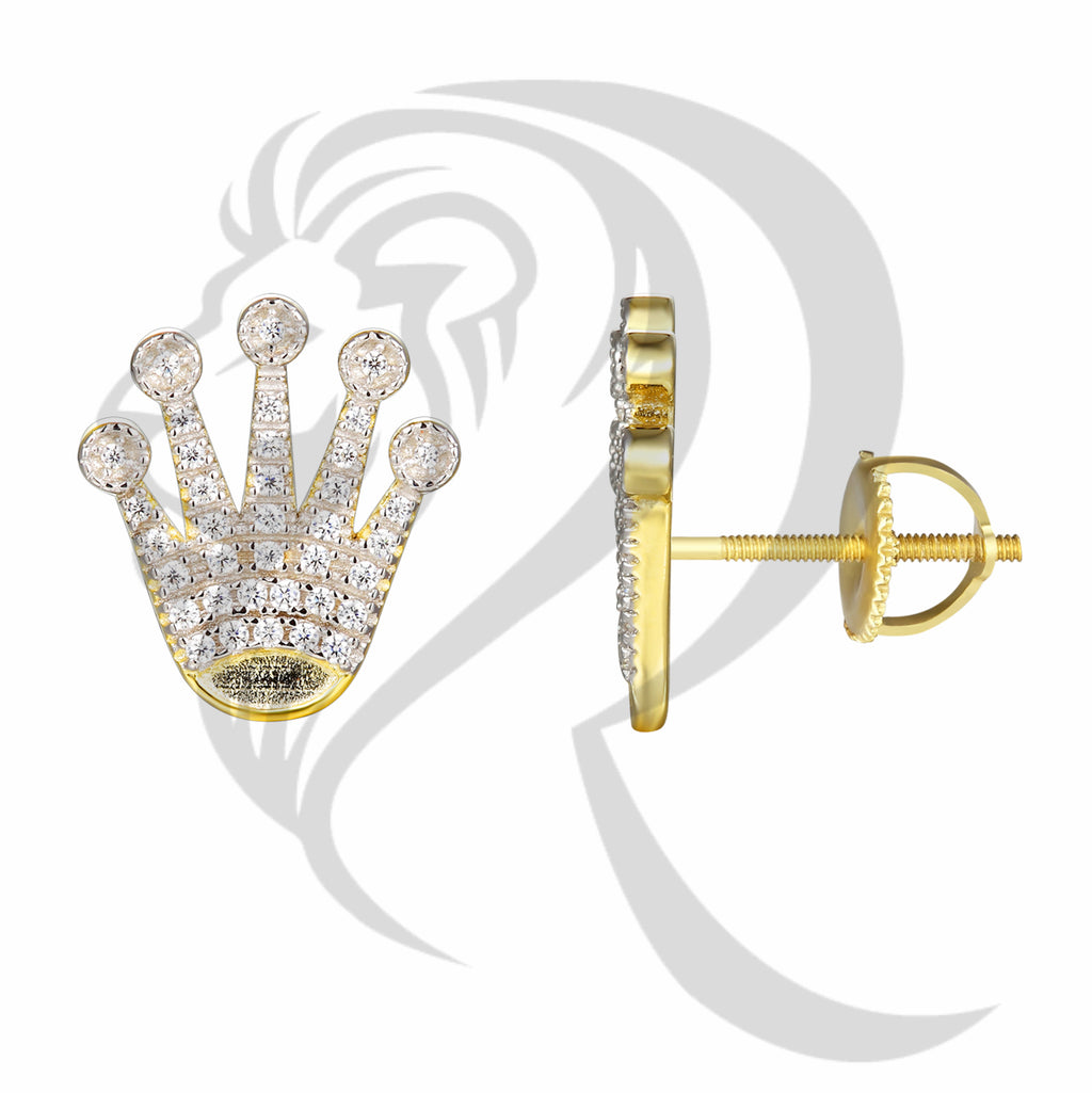 14MMx13MM Presidential Crown IcedOut Earrings