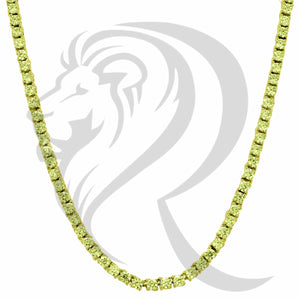 "3MM 18""-24"" Canary Yellow Gold Finish Simulated Diamonds 1 Row Tennis Chain"