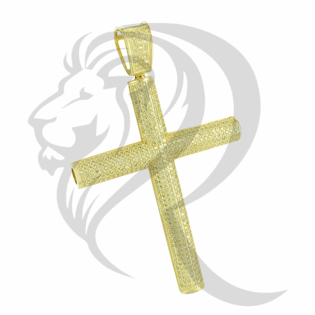 Canary IcedOut Jumbo Tube Cross Hiphop Pendant