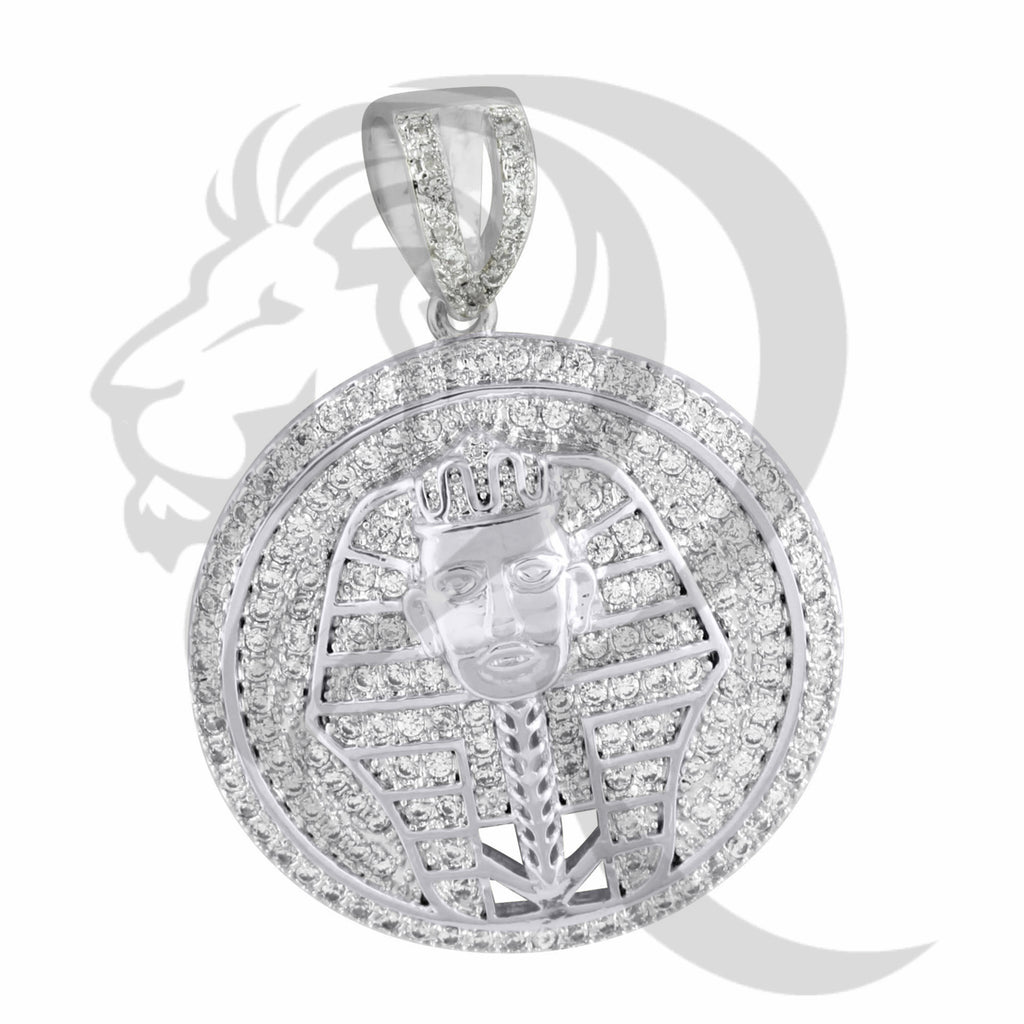 IcedOut Egyptian Pharaoh God Round Medallion Pendant