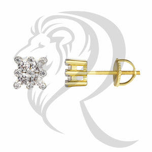 6MM Solitaire Square Face Prong Set Earrings