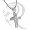 White Gold Finish IcedOut Puffed Cross Pendant