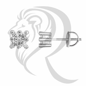 6MM Sterling Silver Square Prong Set Stud Earrings