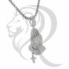 White IcedOut Praying Hands Hanging Cross Pendant