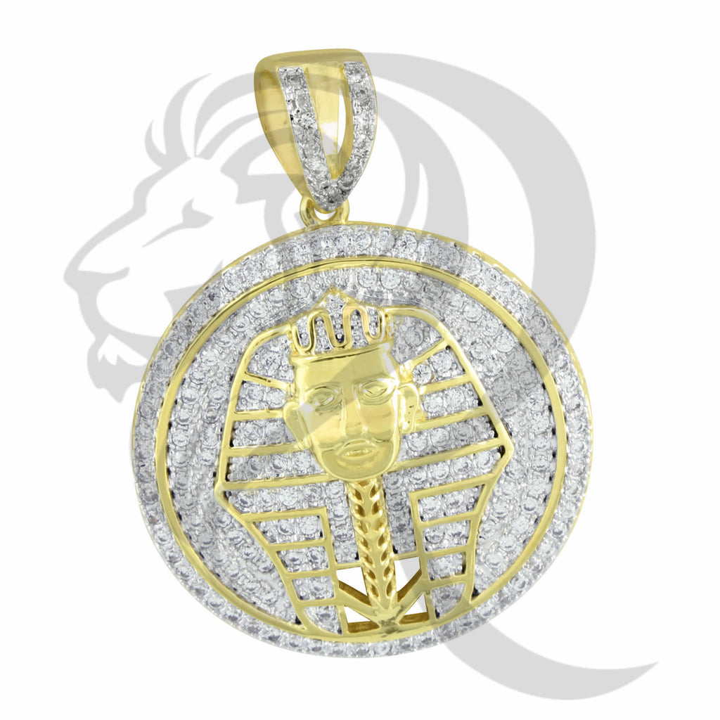 Yellow Egyptian Pharaoh God Round Medallion Pendant