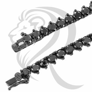 "3MM 18""-24"" All Black 3 Prong Solitaire Simulated Stones 1 Row Tennis Chain"