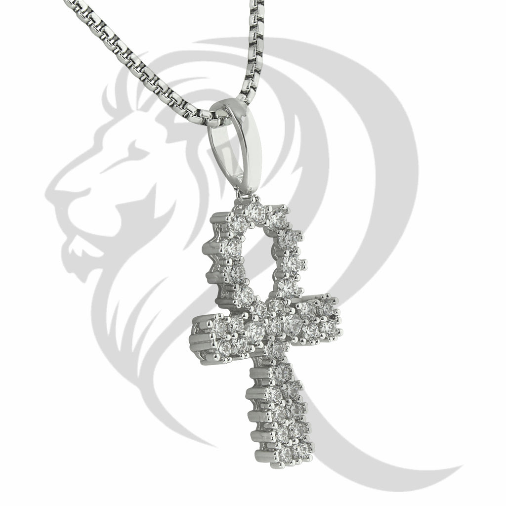 Prong Set Solitaire IcedOut Religious Ankh Cross Pendant