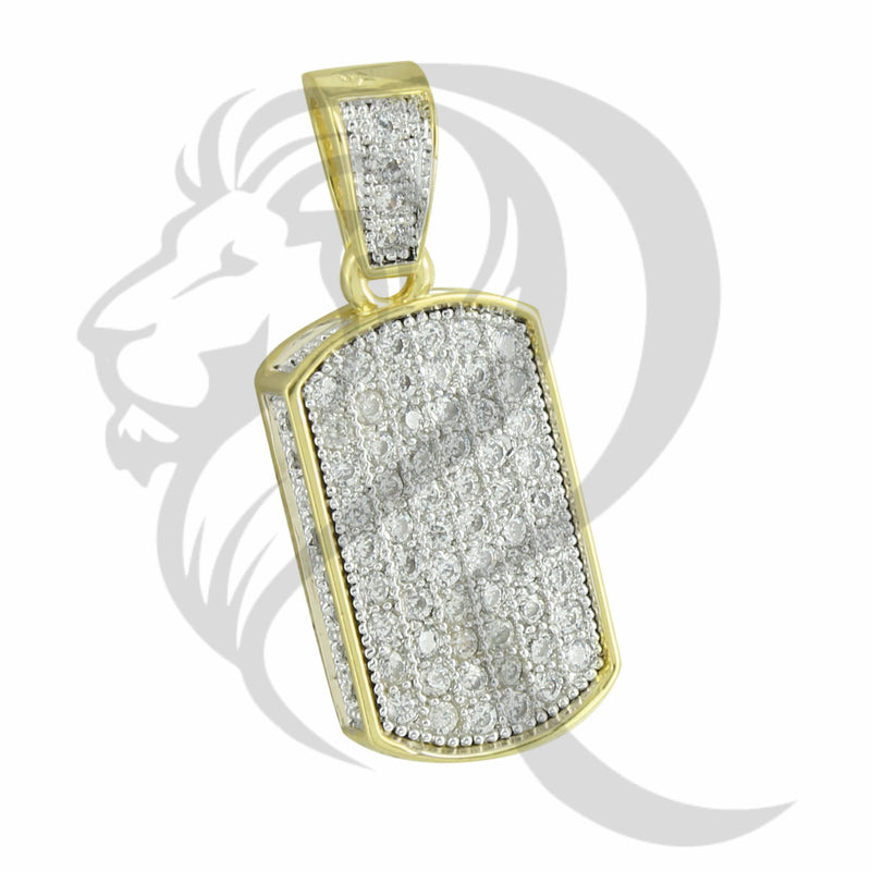 Yellow Gold Tone IcedOut Mini Dog Tag Pendant