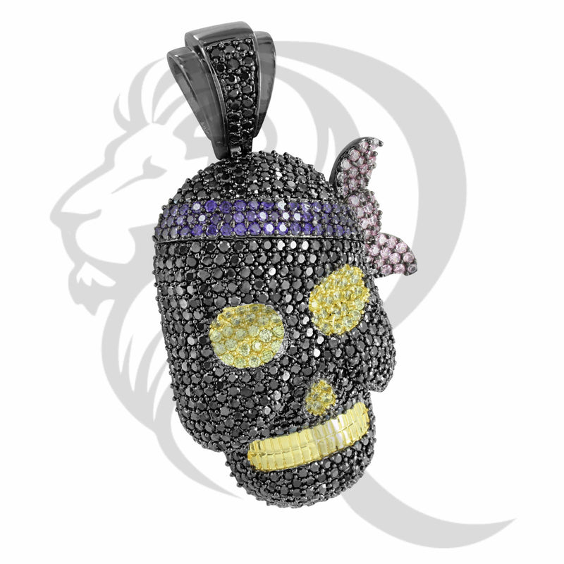 Black IcedOut Canary Purple Custom Pirate Skull Pendant
