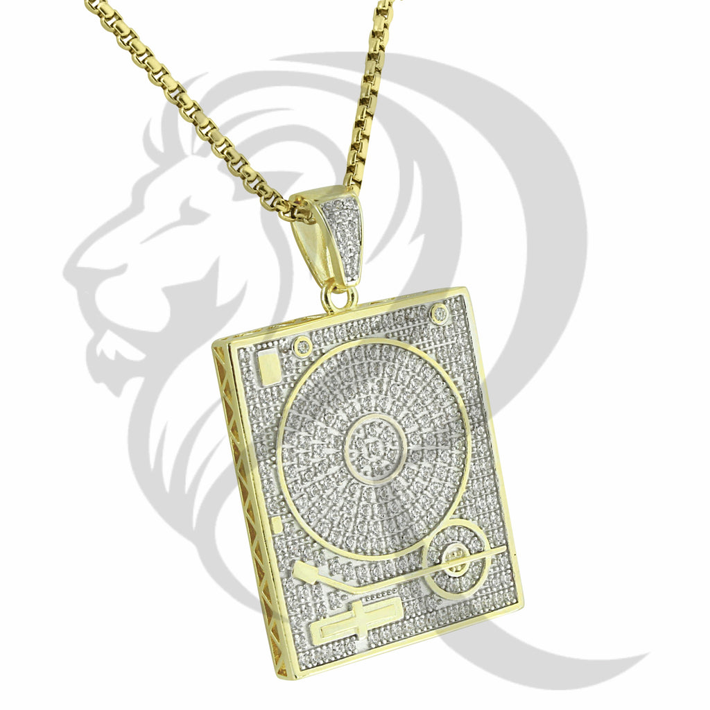 Yellow Gold Tone IcedOut DJ Disc Scratcher Mixer Pendant