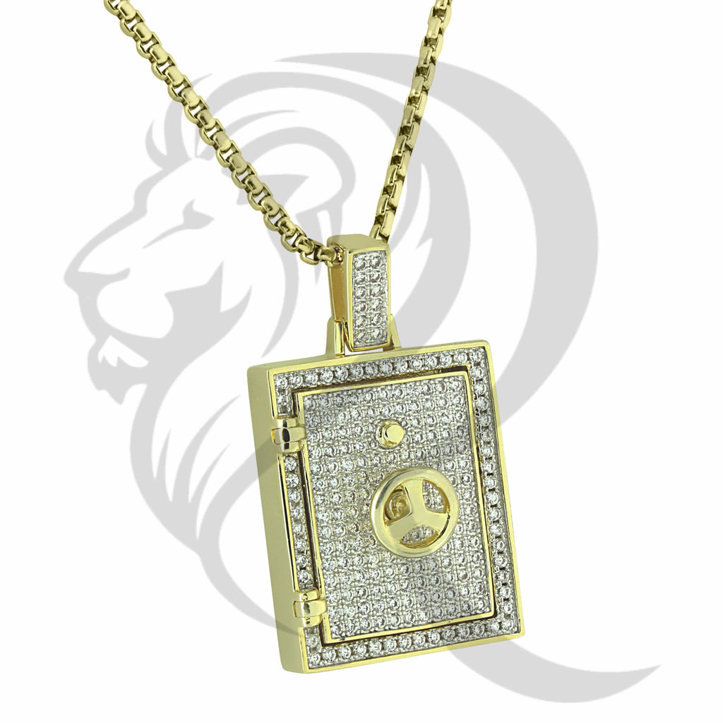 Solid Back IcedOut Openable Door Money Safe Pendant