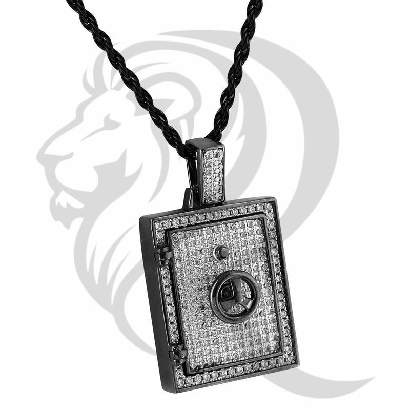 Black Tone Solid Back Money Safe Chest IcedOut Pendant