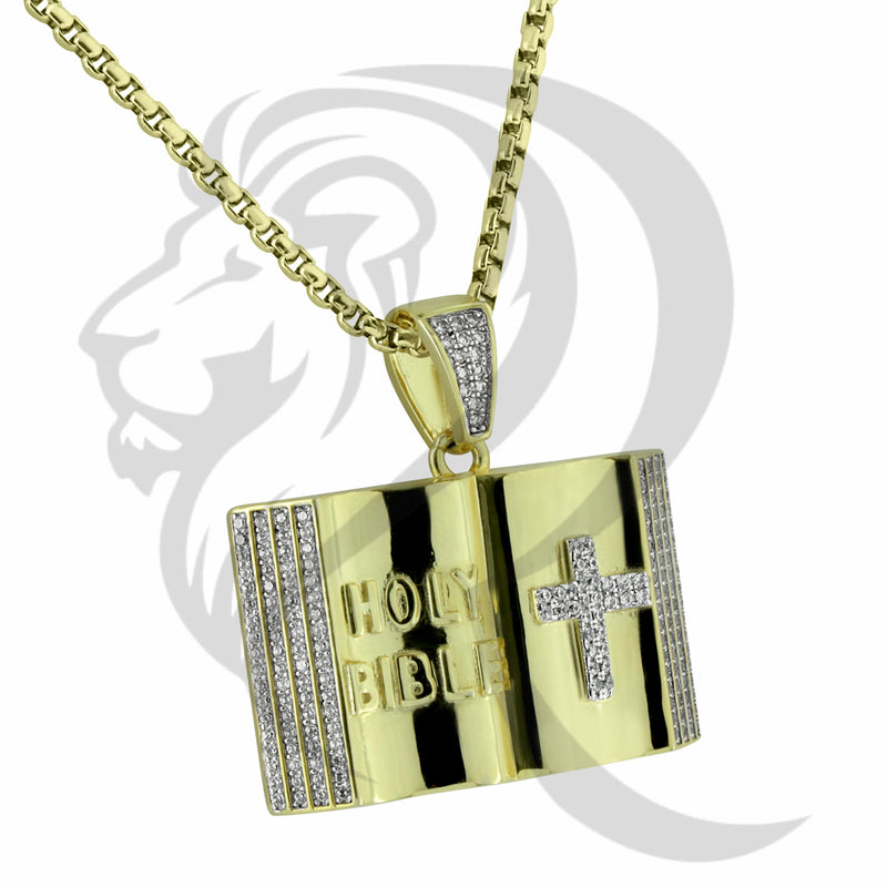 Yellow Tone IcedOut Holy Bible Cross Religious Pendant