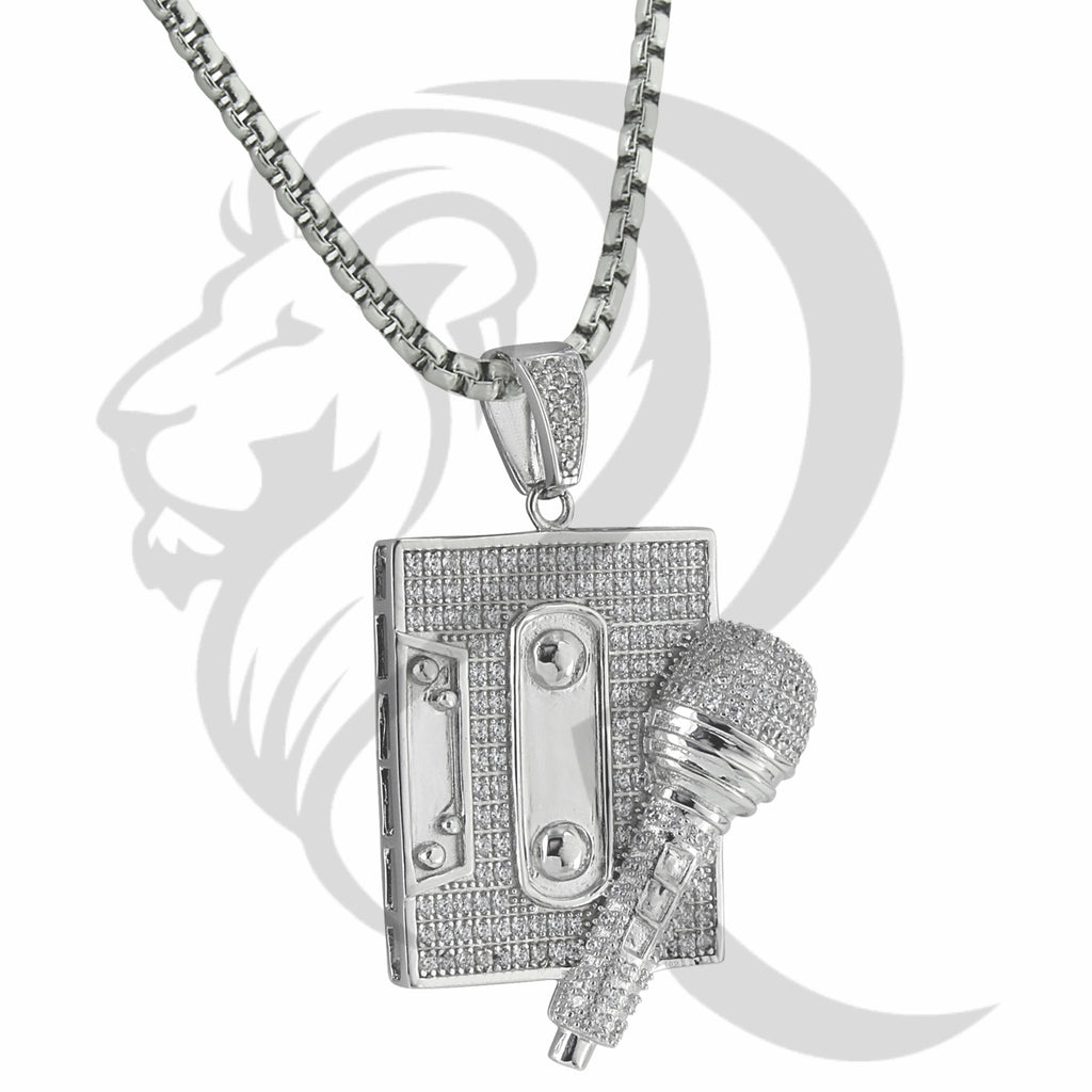 White IcedOut Mic Cassette Player Rappers Music Pendant