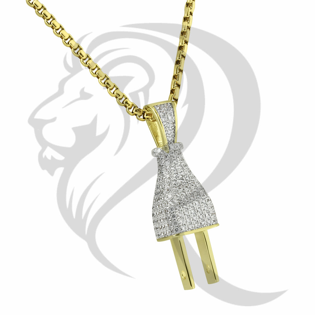 Front & Back All IcedOut Plug Yellow Tone Pendant