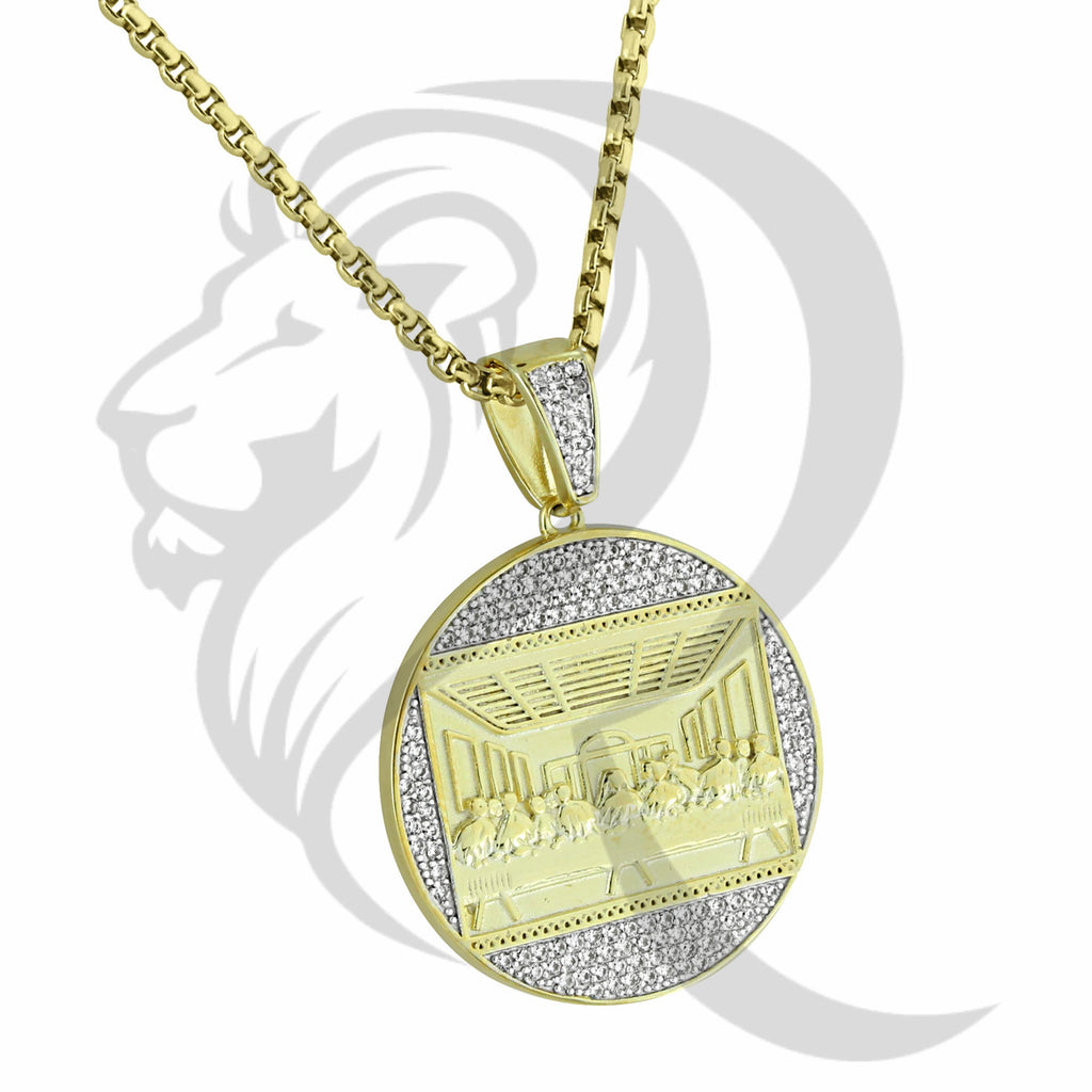 Round IcedOut Jesus Last Supper Medallion Pendant