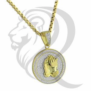 IcedOut Round Religious Praying Hands Medallion Pendant