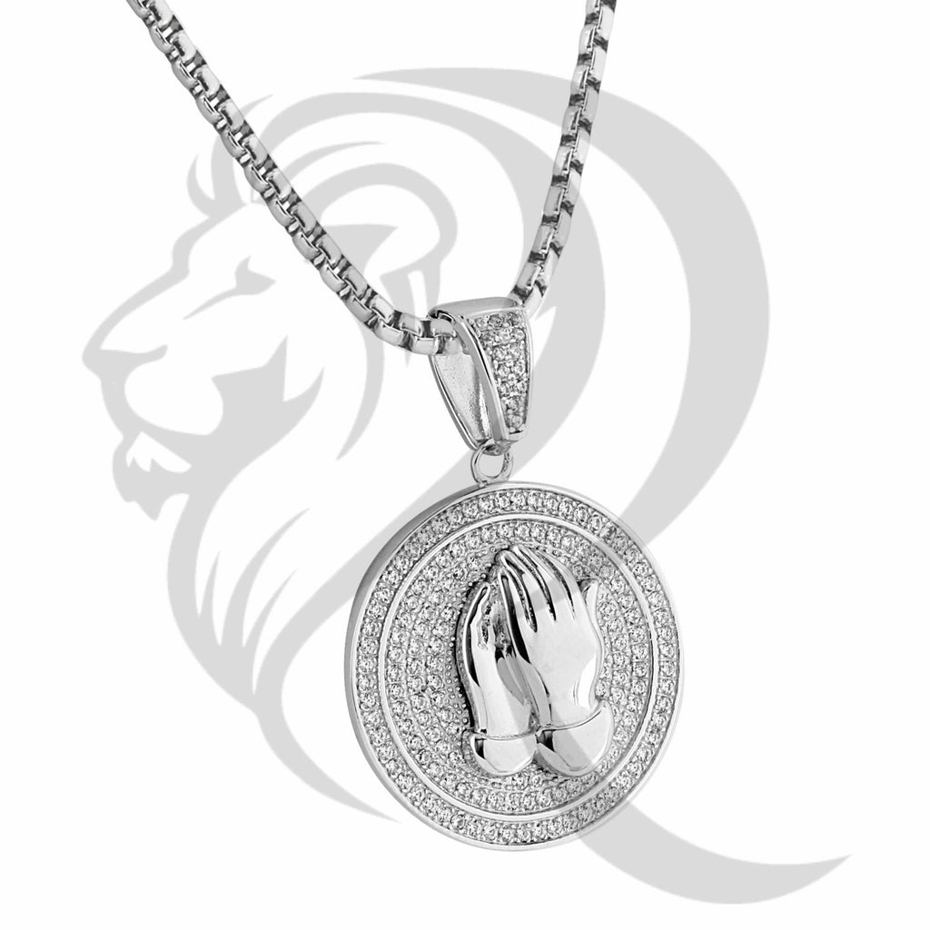 White IcedOut Praying Hands Round Religious Pendant